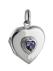 Heart Locket - Sterling Silver with Purple CZ