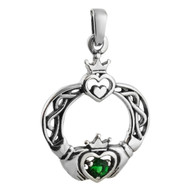 Celtic CZ Claddagh Pendant - 925 Sterling Silver