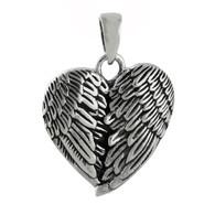 Angel Wings Heart Pendant - 925 Sterling Silver