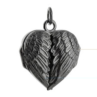 Black Angel Wing Heart Locket - 925 Sterling Silver with Black Ruthenium