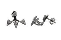 Black CZ Ear Jacket Arrow Earrings - 925 Sterling Silver