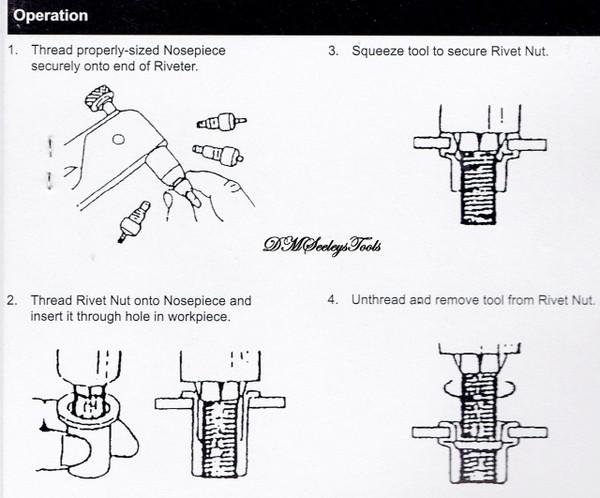Threaded Rivet nut hand tool directions.