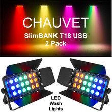 CHAUVET SLIMBANK T18 USB LED RGB Wash Light Pack with Barndoors $20 Instant Coupon Use Promo Code: $20-OFF