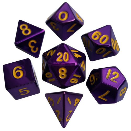 Metallic Dice Games - 16mm Polyhedral Dice  (Set of 7) - Purple Painted w/ gold Numbering
