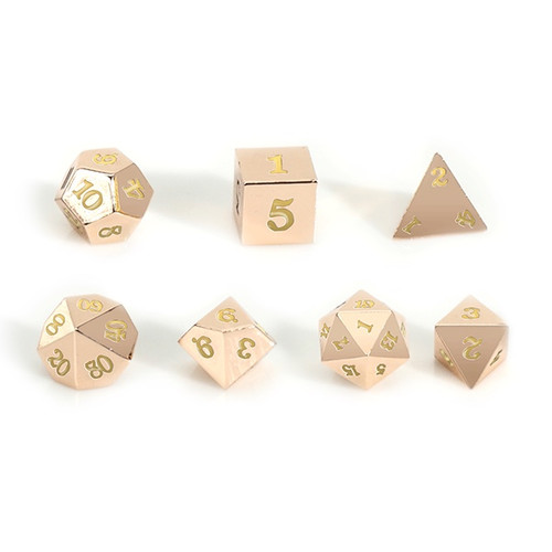Easy Roller - 16mm Rose Gold RPG Dice (Set of 7) - Purple with Skull Case!