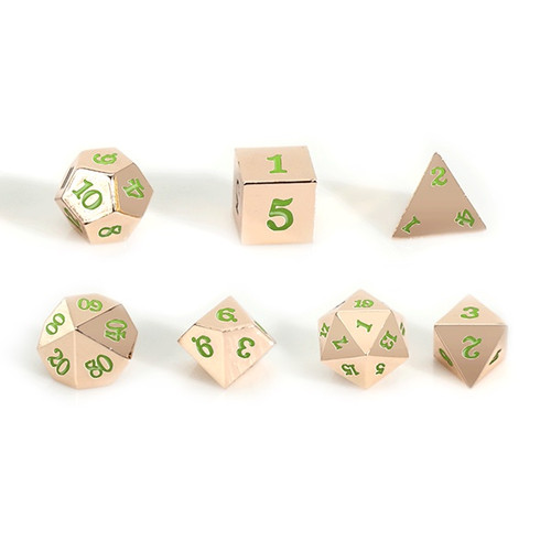 Easy Roller - 16mm Rose Gold RPG Dice (Set of 7) - Green with Skull Case!