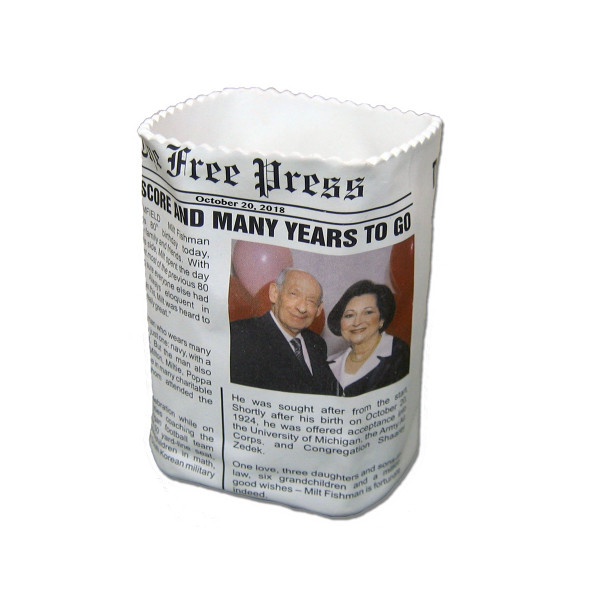 Polyresin newspaper bag desk accessory personalized with a newspaper clipping or custom artwork