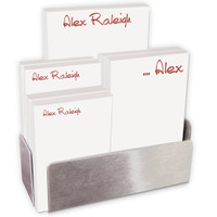 Personalized pad set presented in a white holder, with both small and large pads