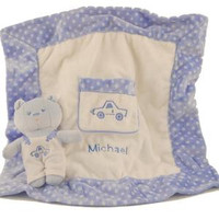 Soft and cozy blanket with a plush teddy bear and personalized with child's name and choice of color
