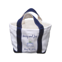 Polyresin boat bag desk accessory personalized with names of recipients and date of a special occasion