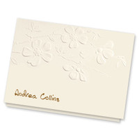 Personalized blossom notes embossed with first and last name, and optional return address on envelope