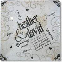 Personalized platter for food or decoration with hand painted names and dates