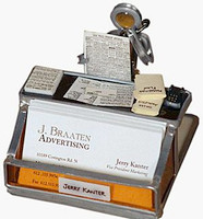 Handcrafted business card holder personalized with up to three miniature replicas and first and last name