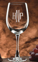 Personalized wine glass set made of crystal with initials or monogram with choice of seven engraving styles