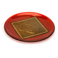 Customized translucent art glass award with iridized glass center presented in an acrylic holder