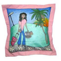Hand painted pillow personalized with details about the recipient