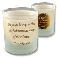 Personalized 11oz frosted votive candle with custom imprints and artwork
