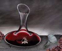 Personalized wide bottom wine decanter with recipient's name and a large mouth for drip-free pouring