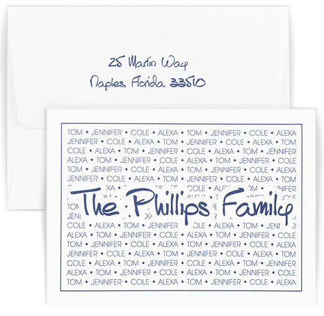 Personalized stationary set printed with family name over a repeating background of family's first names
