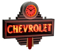 Chevrolet Art Deco Clock Dealer Neon Sign