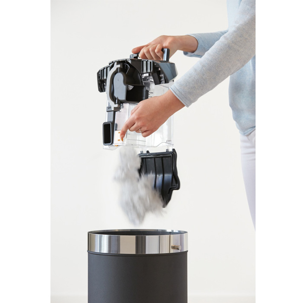 Click2Open Dust Container Easily Empties.