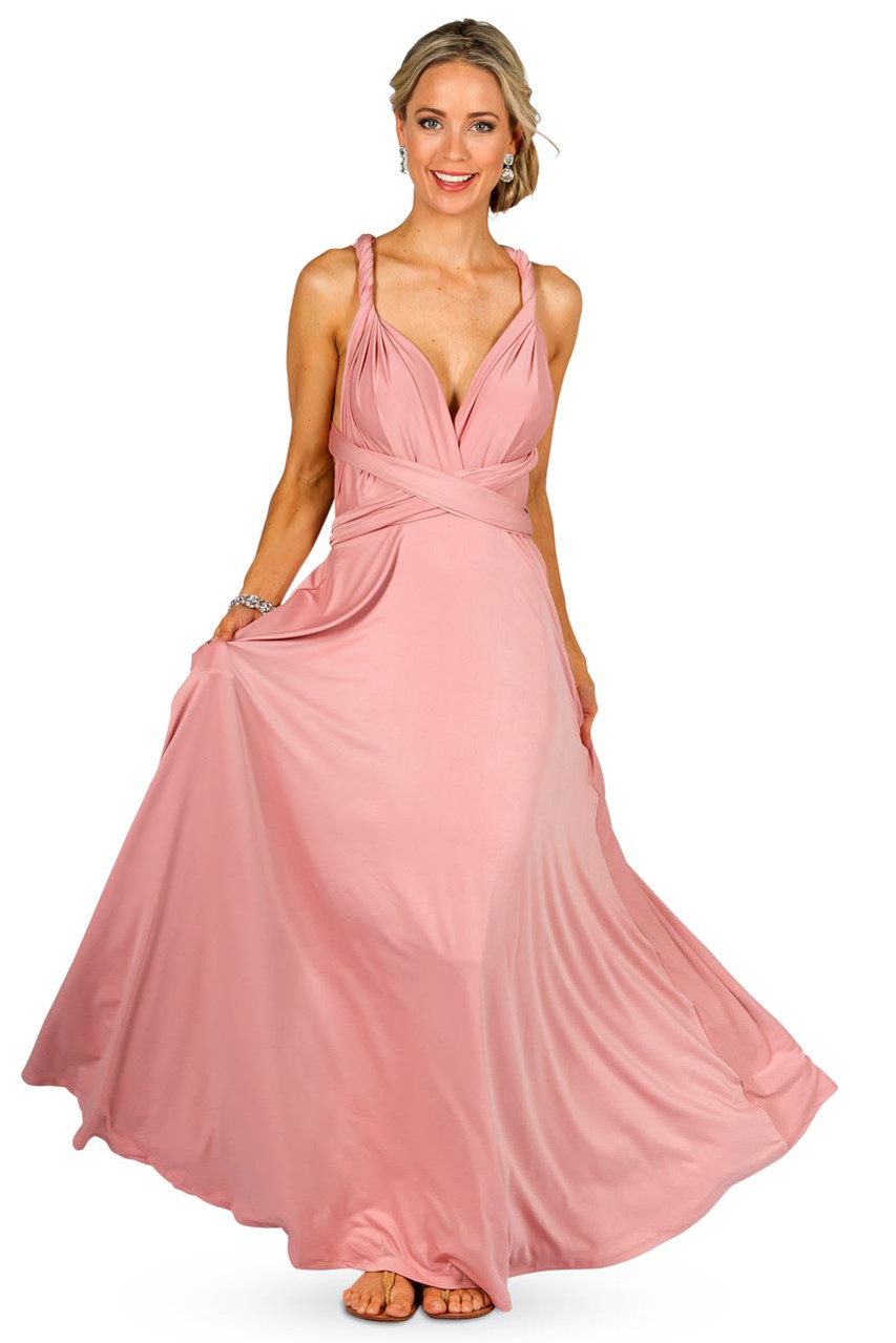 Convertible bridesmaid dress maxi dusty pink bridesmaids etc ombrellifo Gallery