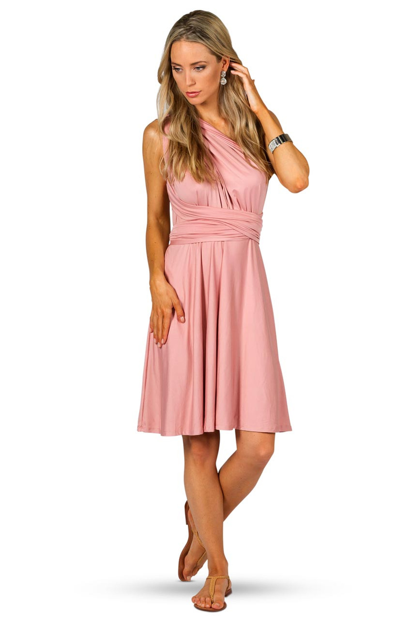 Convertible bridesmaid dress midi dusty pink bridesmaids etc ombrellifo Gallery