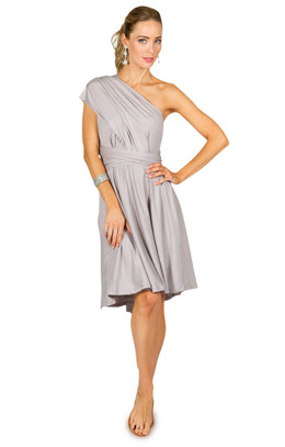 Convertible Bridesmaid Dress Midi - Silver