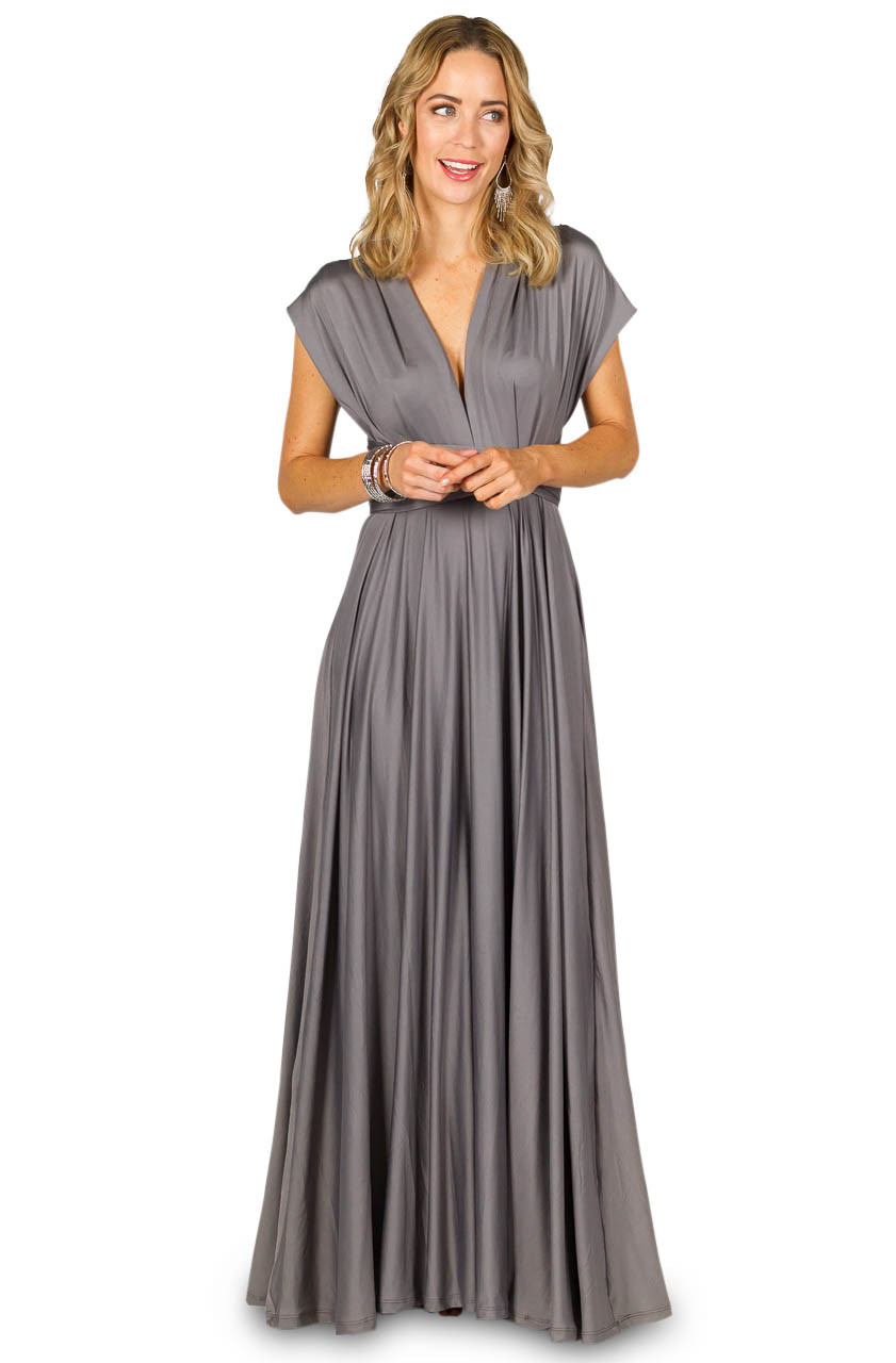 Convertible Bridesmaid Dress Maxi Pewter Bridesmaids Etc