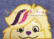 Sunny Day Girls Dog - Doodle Peeker Applique Design