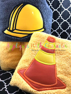 Construction Hat and Cone Peeker Applique Set