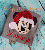 Minnie Mouse w/ Santa Hat Applique Design