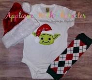 Yoda Star Wars with Santa Hat Applique Design