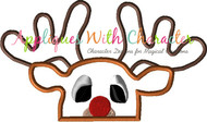 Rudolph the Reindeer Peeker Applique Design