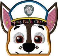 Paw Chasie Pup Peeker Applique Design
