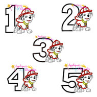 Paw Marshill One Two Three Four Five Set  Applique Design