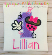 Minny Mouse Four Applique Design