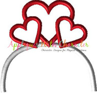 Hearts Headband Applique Design