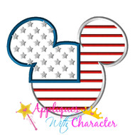 American Flag Mickey Head Applique Design