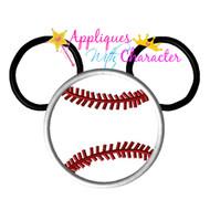 Mickey Mouse Baseball Applique Design