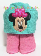 Minnie Mouse with Hearts Applique Design