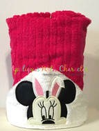 Minnie Mouse with Bunny Ears Peeker Applique Design