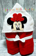 Minnie Mouse with Hearts Peeker Applique Design