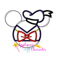 Donild Duck Mickey Ears Head Applique Design