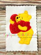Winnie the Pooh Holding Heart Applique Design