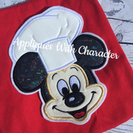 Chef Mickey Face Applique Design