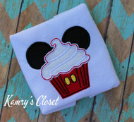 Mickie Mouse Cupcake   Applique Design