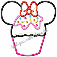Minniey Mouse Cupcake Applique Design