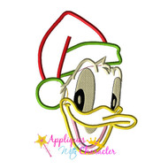 Donild Duck Santa Face  Applique Design