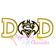Batman Superman Dad Applique Design